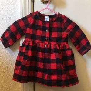 Black & red plaid baby dress w/diaper cover.